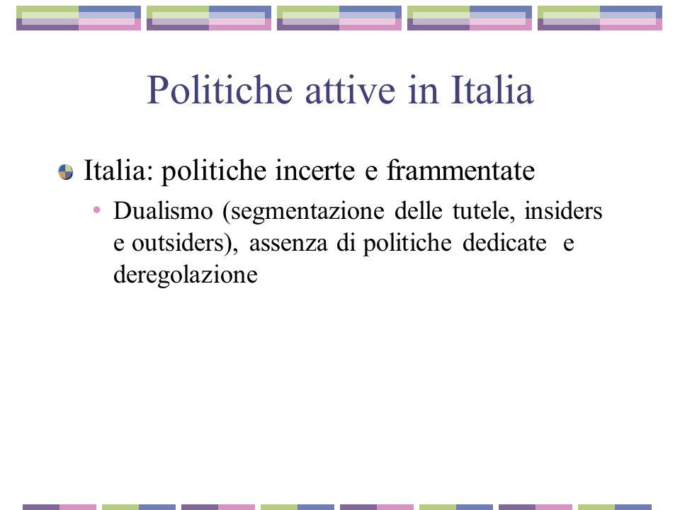 Politiche attive in Italia Italia: politiche incerte e frammentate Dualismo (segmentazione delle tutele, insiders e outsiders), assenza di politiche dedicate e deregolazione