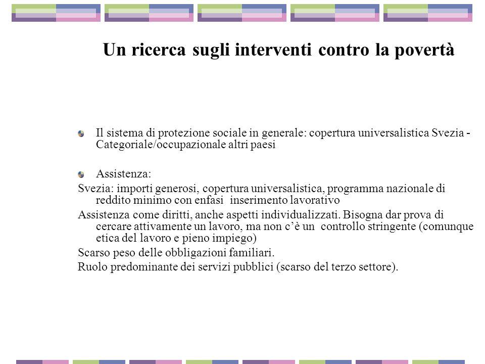 Un ricerca sugli interventi contro la povertà Il sistema di protezione sociale in generale: copertura universalistica Svezia - Categoriale/occupaziona