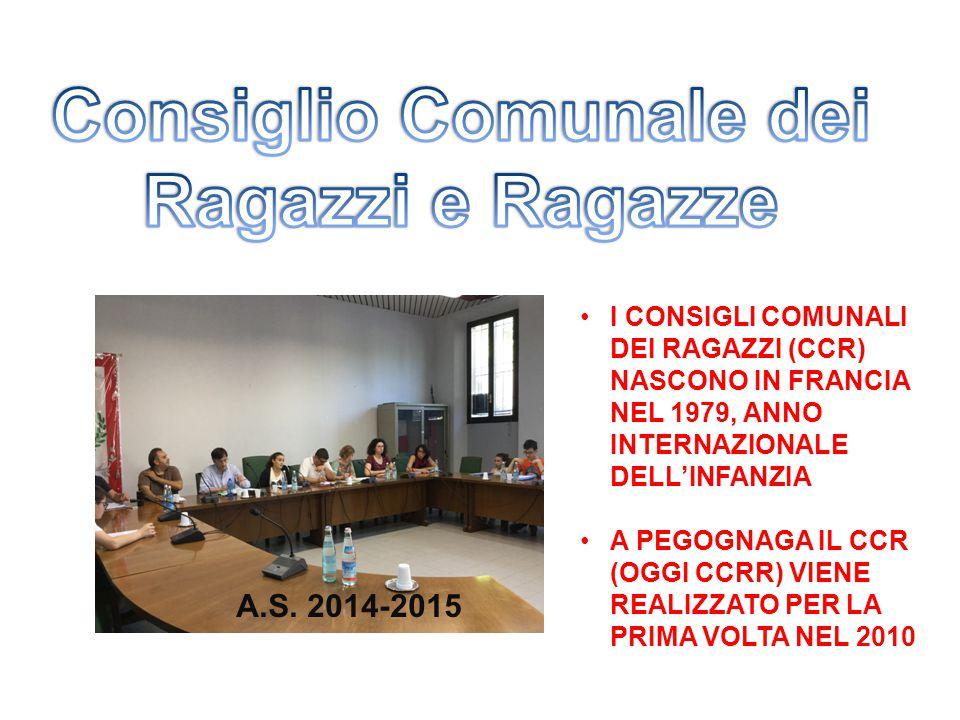 A.S. 2014-2015 I CONSIGLI COMUNALI DEI RAGAZZI (CCR) NASCONO IN FRANCIA NEL 1979, ANNO INTERNAZIONALE DELL'INFANZIA A PEGOGNAGA IL CCR (OGGI CCRR) VIE