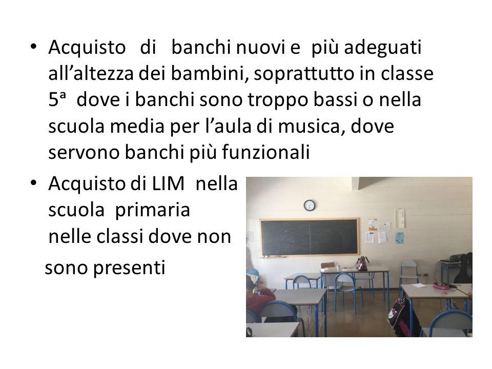 Acquisto di banchi nuovi e più adeguati all'altezza dei bambini, soprattutto in classe 5ᵃ dove i banchi sono troppo bassi o nella scuola media per l'aula di musica, dove servono banchi più funzionali Acquisto di LIM nella scuola primaria nelle classi dove non sono presenti