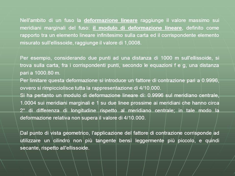 Nell ambito di un fuso la deformazione lineare raggiunge il valore massimo sui meridiani marginali del fuso: il modulo di deformazione lineare, definito come rapporto tra un elemento lineare infinitesimo sulla carta ed il corrispondente elemento misurato sull ellissoide, raggiunge il valore di 1,0008.