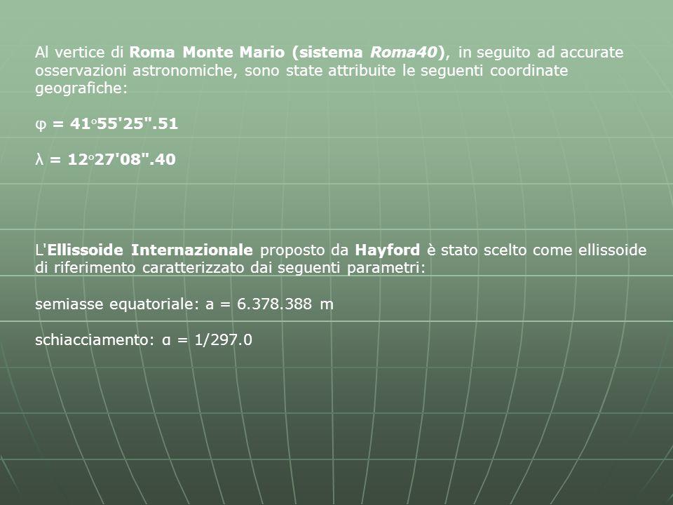 Al vertice di Roma Monte Mario (sistema Roma40), in seguito ad accurate osservazioni astronomiche, sono state attribuite le seguenti coordinate geografiche: φ = 41°55 25 .51 λ = 12°27 08 .40 L Ellissoide Internazionale proposto da Hayford è stato scelto come ellissoide di riferimento caratterizzato dai seguenti parametri: semiasse equatoriale: a = 6.378.388 m schiacciamento: α = 1/297.0