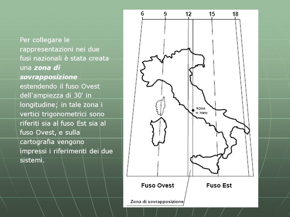 Per collegare le rappresentazioni nei due fusi nazionali è stata creata una zona di sovrapposizione estendendo il fuso Ovest dell ampiezza di 30 in longitudine; in tale zona i vertici trigonometrici sono riferiti sia al fuso Est sia al fuso Ovest, e sulla cartografia vengono impressi i riferimenti dei due sistemi.