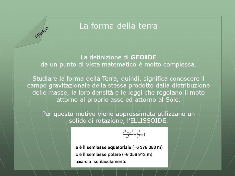 La forma della terra La definizione di GEOIDE da un punto di vista matematico è molto complessa.