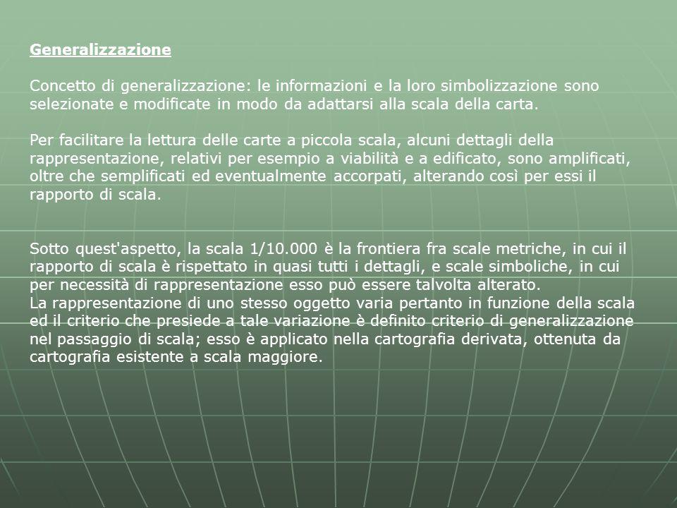 Generalizzazione Concetto di generalizzazione: le informazioni e la loro simbolizzazione sono selezionate e modificate in modo da adattarsi alla scala della carta.