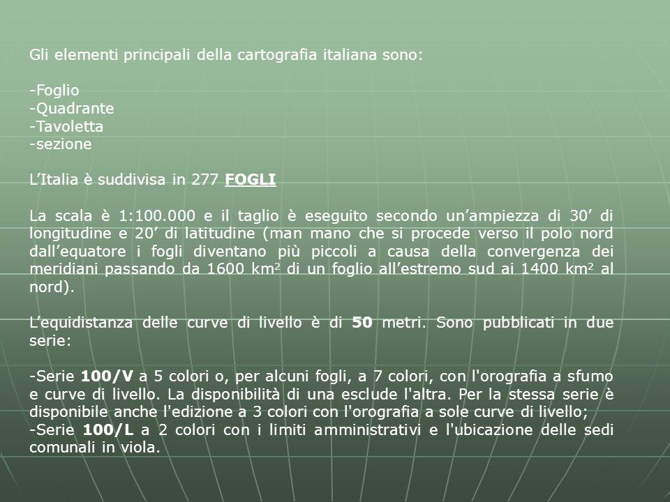 Gli elementi principali della cartografia italiana sono: -Foglio -Quadrante -Tavoletta -sezione L'Italia è suddivisa in 277 FOGLI La scala è 1:100.000 e il taglio è eseguito secondo un'ampiezza di 30' di longitudine e 20' di latitudine (man mano che si procede verso il polo nord dall'equatore i fogli diventano più piccoli a causa della convergenza dei meridiani passando da 1600 km 2 di un foglio all'estremo sud ai 1400 km 2 al nord).