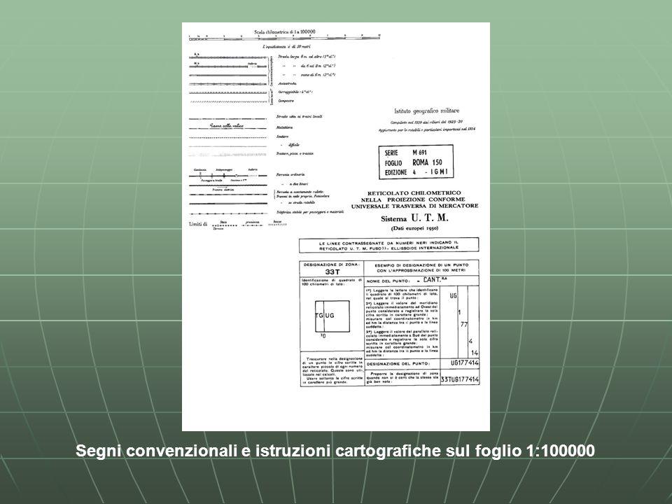 Segni convenzionali e istruzioni cartografiche sul foglio 1:100000