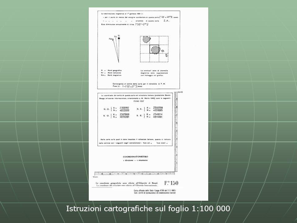 Istruzioni cartografiche sul foglio 1:100 000
