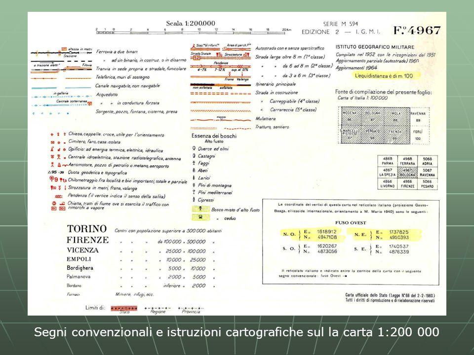 Segni convenzionali e istruzioni cartografiche sul la carta 1:200 000