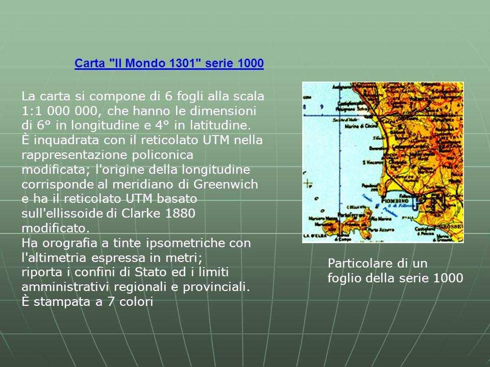 Carta Il Mondo 1301 serie 1000 Particolare di un foglio della serie 1000 La carta si compone di 6 fogli alla scala 1:1 000 000, che hanno le dimensioni di 6° in longitudine e 4° in latitudine.