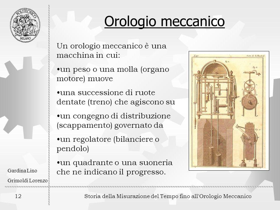 12 Storia della Misurazione del Tempo fino all'Orologio Meccanico Gardina Lino Grimoldi Lorenzo Orologio meccanico Un orologio meccanico è una macchin
