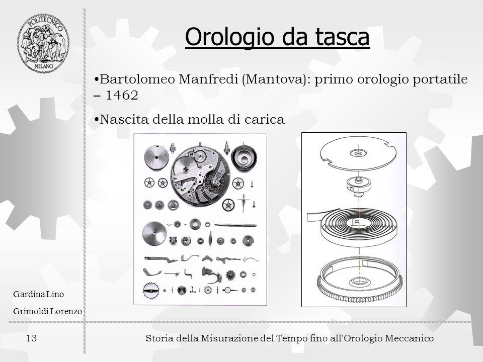 13 Storia della Misurazione del Tempo fino all'Orologio Meccanico Gardina Lino Grimoldi Lorenzo Orologio da tasca Bartolomeo Manfredi (Mantova): primo