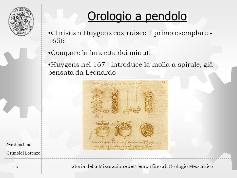 15 Storia della Misurazione del Tempo fino all'Orologio Meccanico Gardina Lino Grimoldi Lorenzo Orologio a pendolo Christian Huygens costruisce il pri