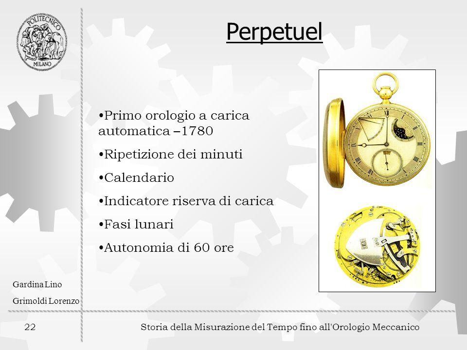 22 Storia della Misurazione del Tempo fino all'Orologio Meccanico Gardina Lino Grimoldi Lorenzo Perpetuel Primo orologio a carica automatica –1780 Rip
