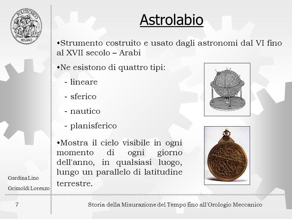 7 Storia della Misurazione del Tempo fino all'Orologio Meccanico Gardina Lino Grimoldi Lorenzo Astrolabio Strumento costruito e usato dagli astronomi