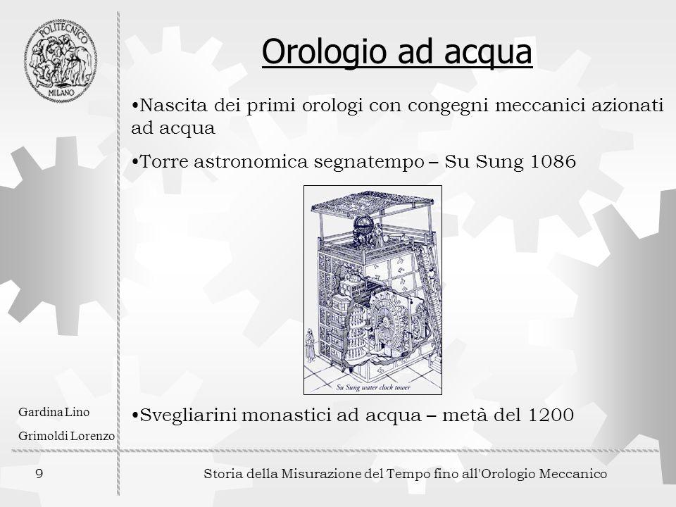 9 Storia della Misurazione del Tempo fino all'Orologio Meccanico Gardina Lino Grimoldi Lorenzo Orologio ad acqua Nascita dei primi orologi con congegn