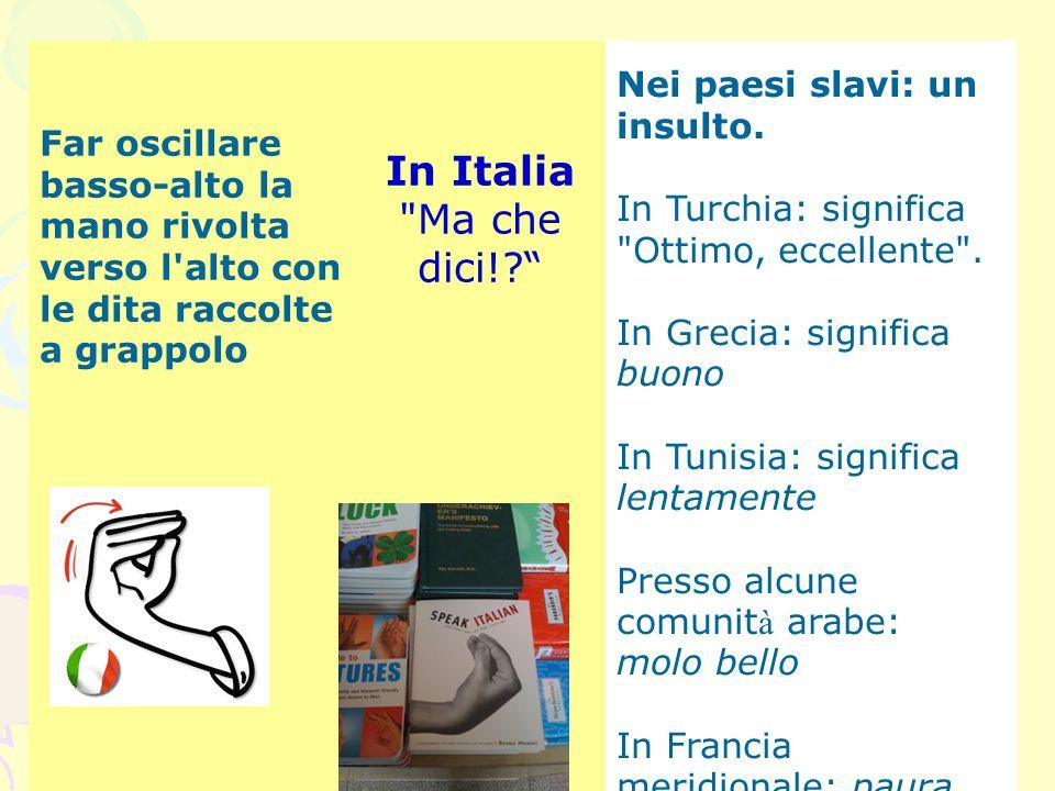 Far oscillare basso-alto la mano rivolta verso l'alto con le dita raccolte a grappolo In Italia