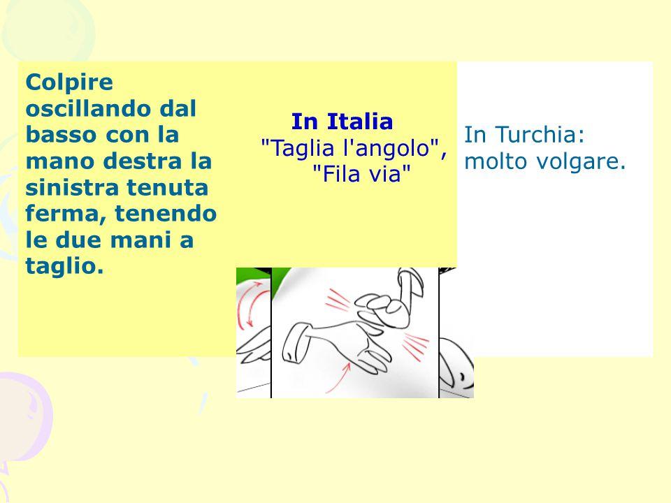 Colpire oscillando dal basso con la mano destra la sinistra tenuta ferma, tenendo le due mani a taglio. In Italia