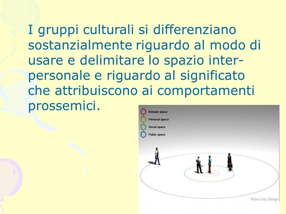 I gruppi culturali si differenziano sostanzialmente riguardo al modo di usare e delimitare lo spazio inter- personale e riguardo al significato che at