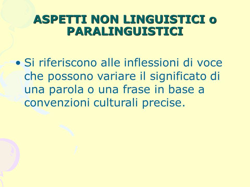 ASPETTI NON LINGUISTICI o PARALINGUISTICI Si riferiscono alle inflessioni di voce che possono variare il significato di una parola o una frase in base