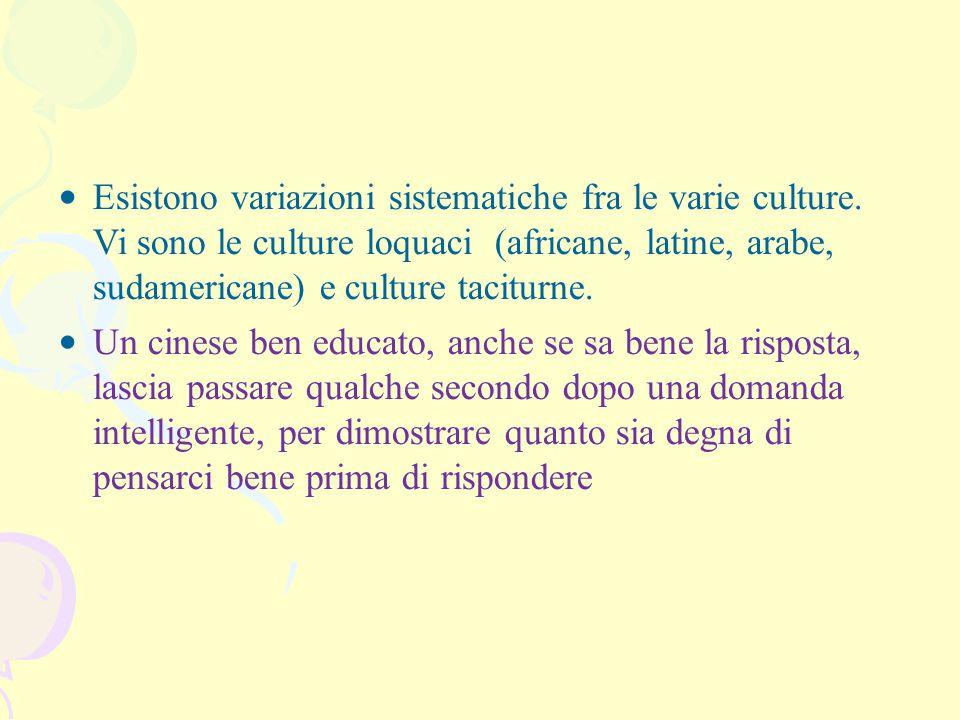 Esistono variazioni sistematiche fra le varie culture. Vi sono le culture loquaci (africane, latine, arabe, sudamericane) e culture taciturne. Un cine