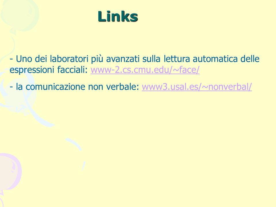 Links - Uno dei laboratori più avanzati sulla lettura automatica delle espressioni facciali: www-2.cs.cmu.edu/~face/ - la comunicazione non verbale: w