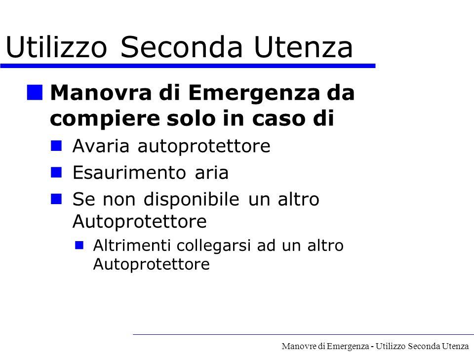Manovre di Emergenza - Utilizzo Seconda Utenza Utilizzo Seconda Utenza Manovra di Emergenza da compiere solo in caso di Avaria autoprotettore Esaurime