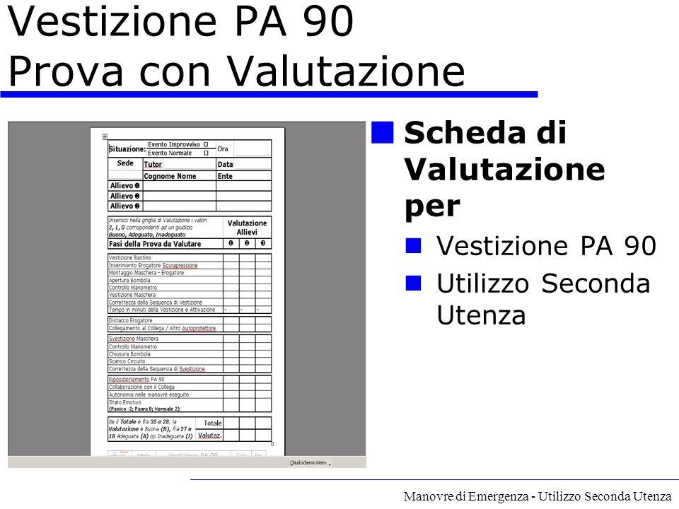 Manovre di Emergenza - Utilizzo Seconda Utenza Vestizione PA 90 Prova con Valutazione Scheda di Valutazione per Vestizione PA 90 Utilizzo Seconda Uten