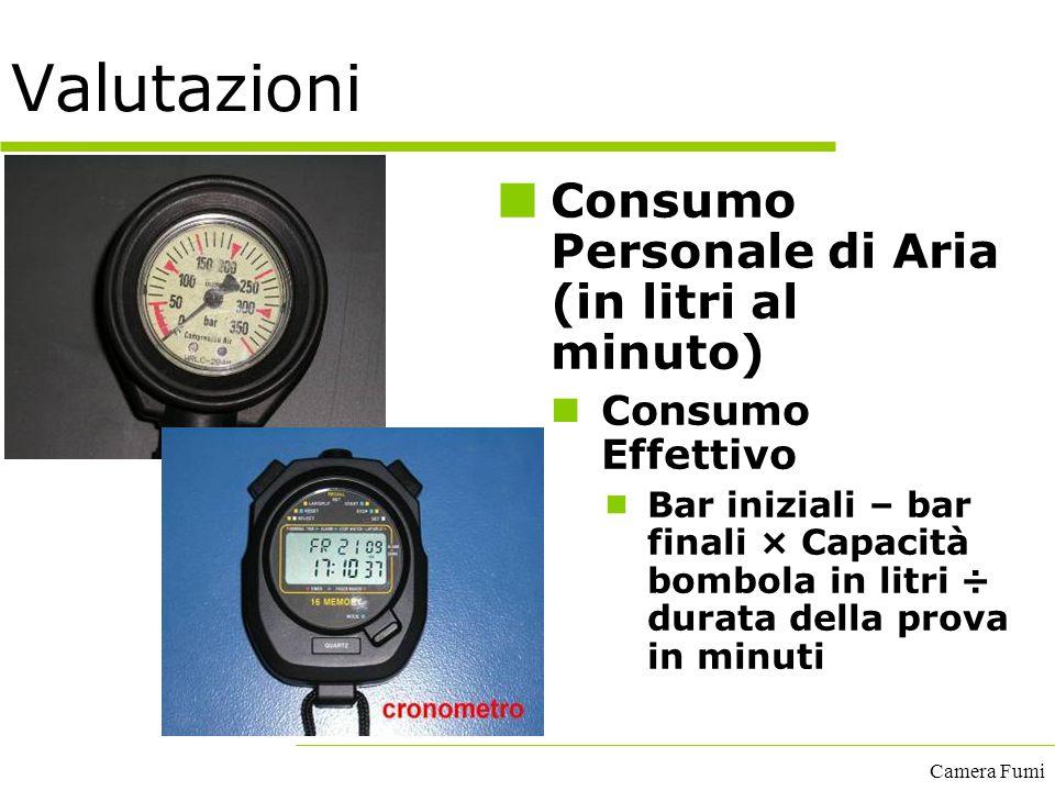 Camera Fumi Valutazioni Consumo Personale di Aria (in litri al minuto) Consumo Effettivo  Bar iniziali – bar finali × Capacità bombola in litri ÷ dur