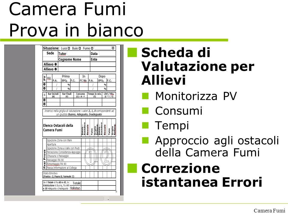 Camera Fumi Camera Fumi Prova in bianco Scheda di Valutazione per Allievi Monitorizza PV Consumi Tempi Approccio agli ostacoli della Camera Fumi Corre