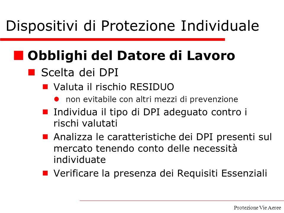 Protezione Vie Aeree Dispositivi di Protezione Individuale Obblighi del Datore di Lavoro Scelta dei DPI  Valuta il rischio RESIDUO non evitabile con