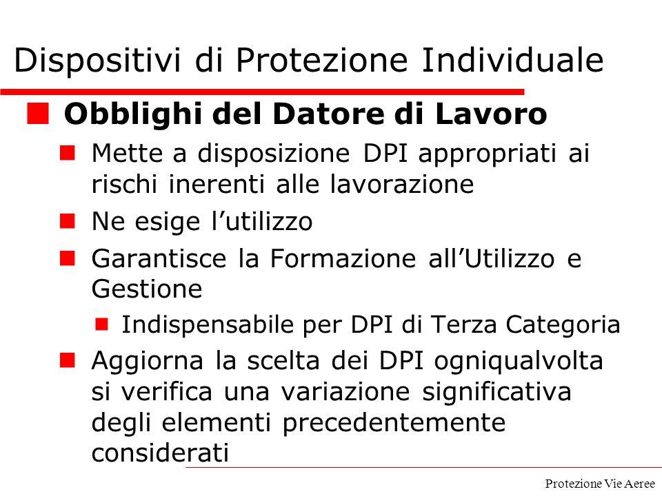 Protezione Vie Aeree Obblighi del Datore di Lavoro Mette a disposizione DPI appropriati ai rischi inerenti alle lavorazione Ne esige l'utilizzo Garant
