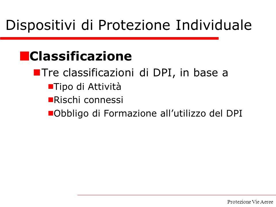 Protezione Vie Aeree Classificazione Tre classificazioni di DPI, in base a  Tipo di Attività  Rischi connessi  Obbligo di Formazione all'utilizzo d