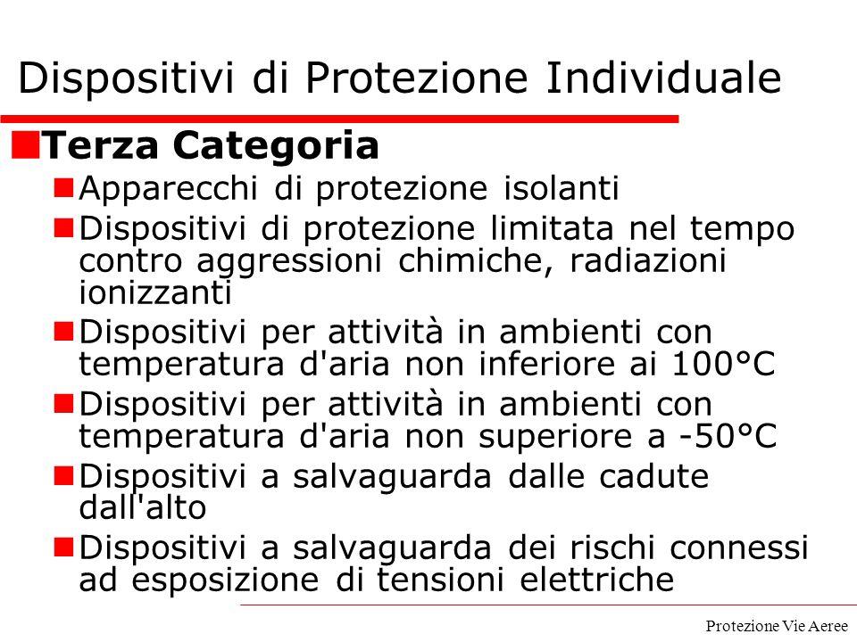 Protezione Vie Aeree Terza Categoria Apparecchi di protezione isolanti Dispositivi di protezione limitata nel tempo contro aggressioni chimiche, radia