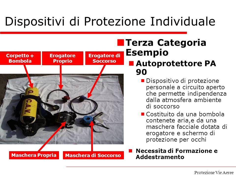 Protezione Vie Aeree Terza Categoria Esempio Autoprotettore PA 90  Dispositivo di protezione personale a circuito aperto che permette indipendenza da