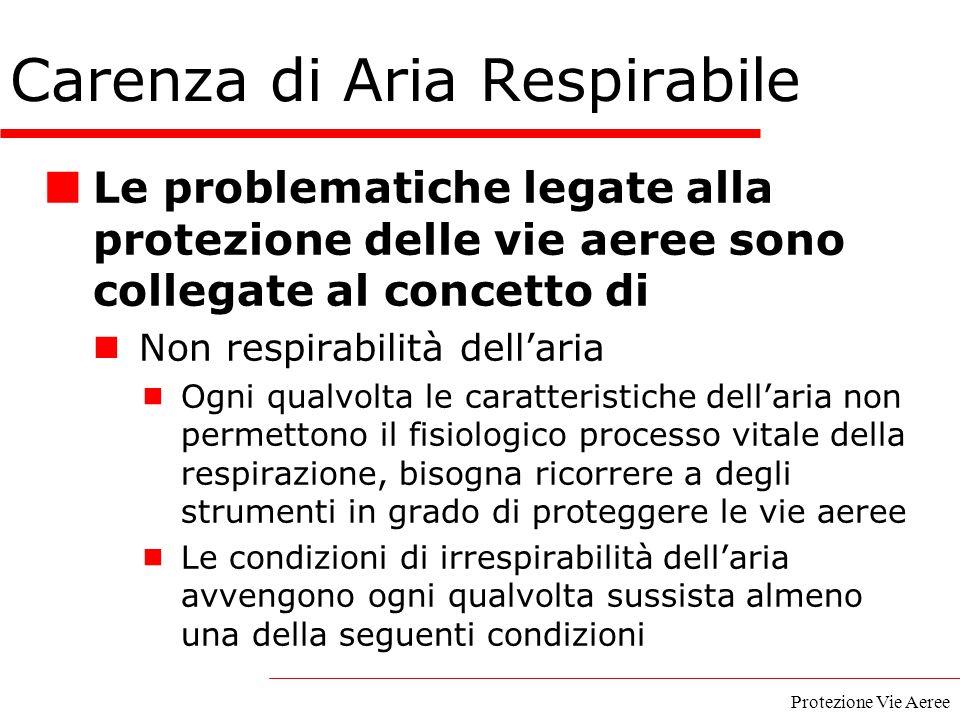 Protezione Vie Aeree Le problematiche legate alla protezione delle vie aeree sono collegate al concetto di Non respirabilità dell'aria  Ogni qualvolt