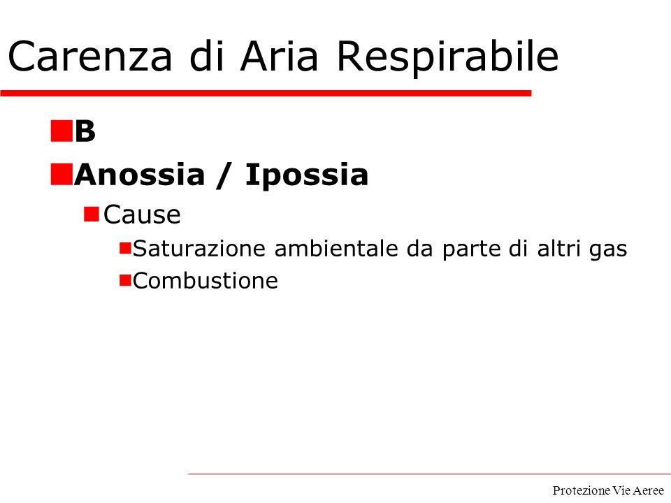 Protezione Vie Aeree B Anossia / Ipossia Cause  Saturazione ambientale da parte di altri gas  Combustione Carenza di Aria Respirabile