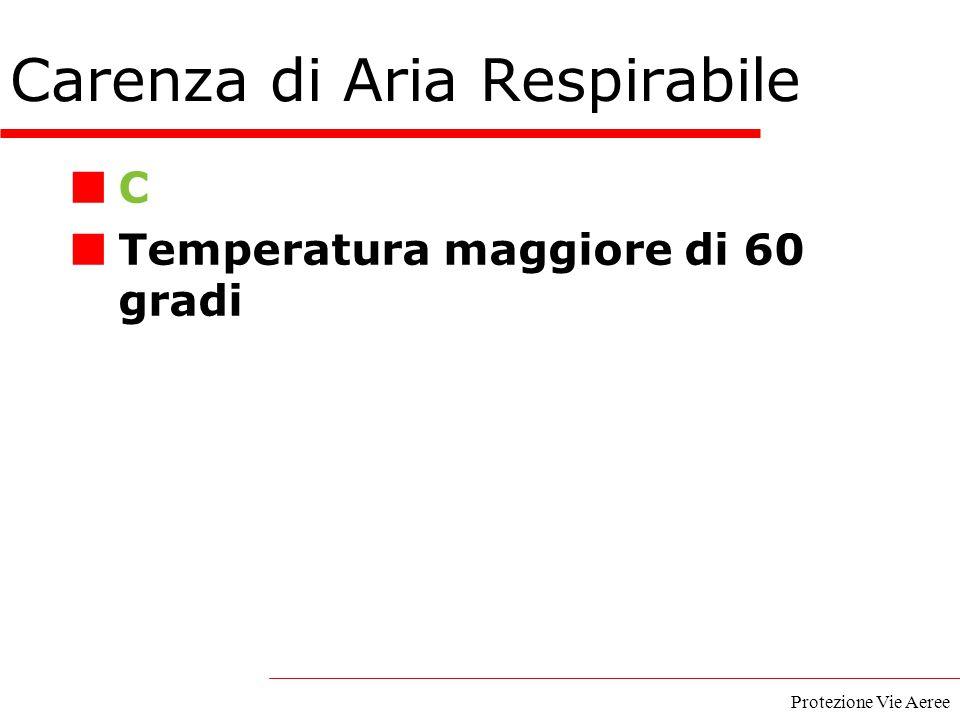 Protezione Vie Aeree C Temperatura maggiore di 60 gradi Carenza di Aria Respirabile