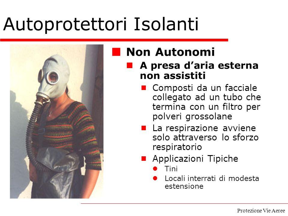 Protezione Vie Aeree Autoprotettori Isolanti Non Autonomi A presa d'aria esterna non assistiti  Composti da un facciale collegato ad un tubo che term