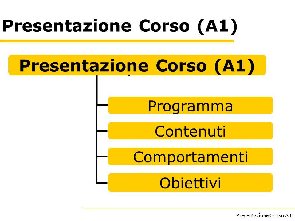 Presentazione Corso A1 Presentazione Corso (A1) Programma Contenuti Comportamenti Obiettivi