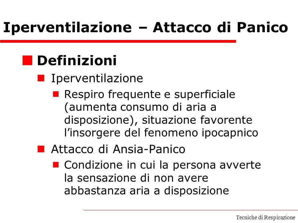 Iperventilazione – Attacco di Panico Definizioni Iperventilazione  Respiro frequente e superficiale (aumenta consumo di aria a disposizione), situazi