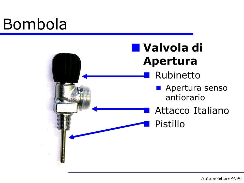 Autoprotettore PA 90 Bombola Valvola di Apertura Rubinetto  Apertura senso antiorario Attacco Italiano Pistillo