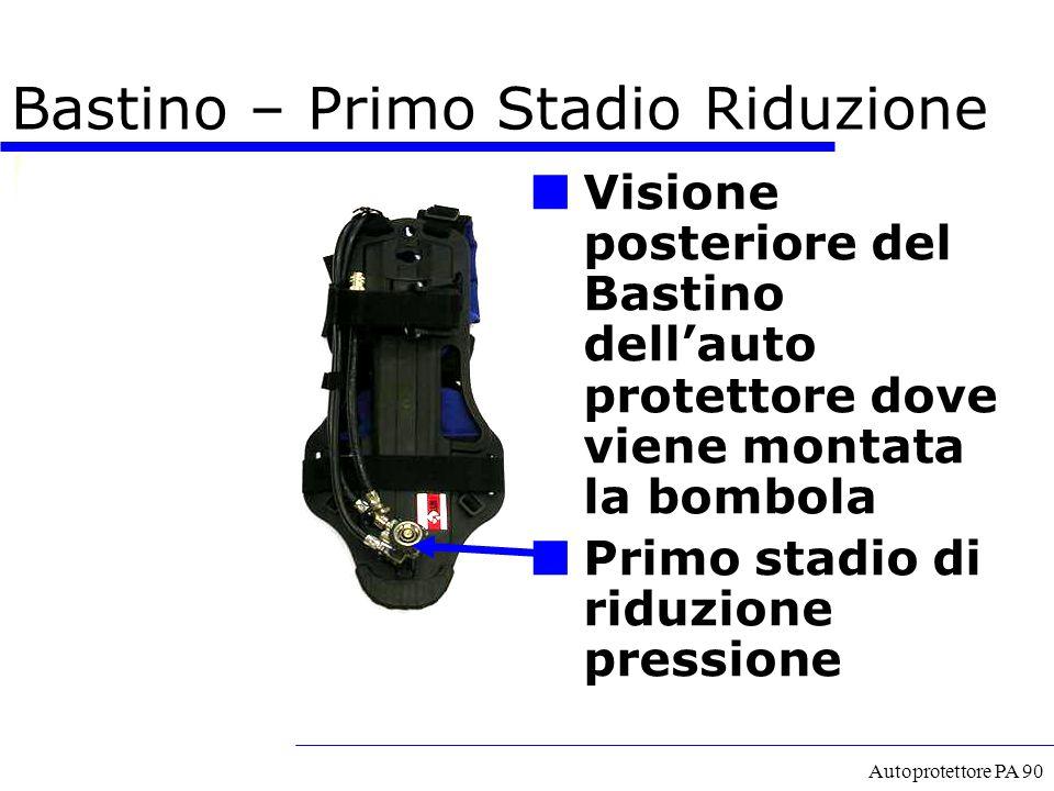 Autoprotettore PA 90 Bastino – Primo Stadio Riduzione Visione posteriore del Bastino dell'auto protettore dove viene montata la bombola Primo stadio d