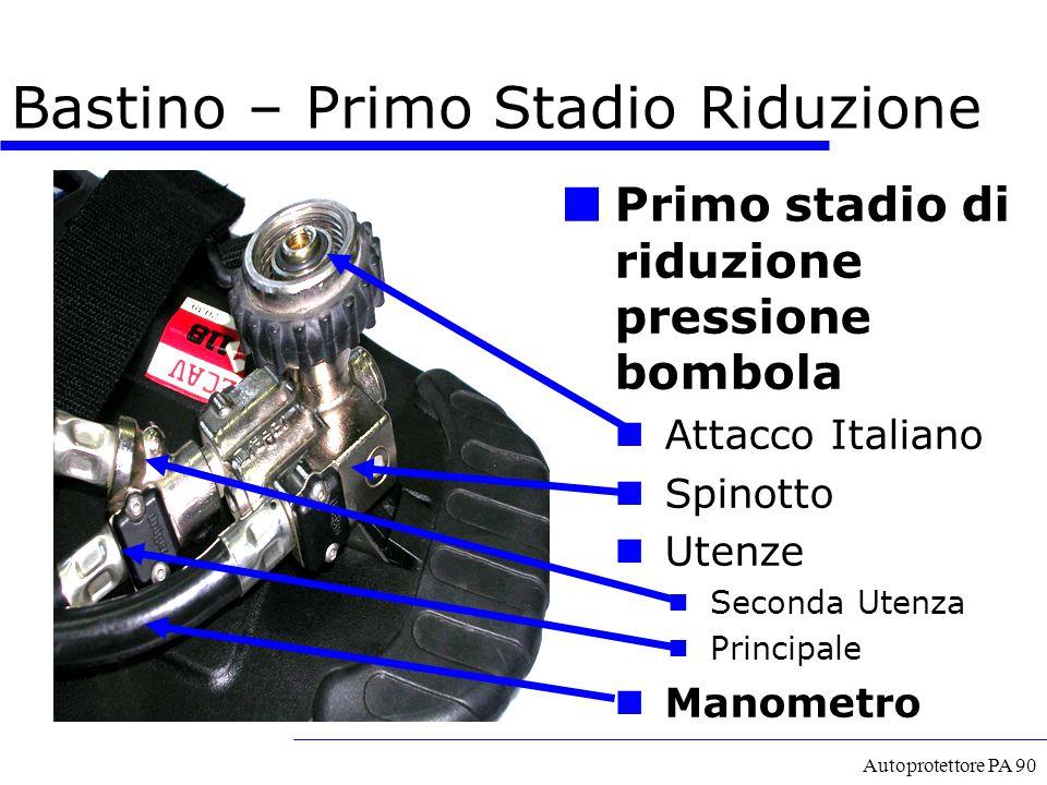 Autoprotettore PA 90 Primo stadio di riduzione pressione bombola Attacco Italiano Spinotto Utenze  Seconda Utenza  Principale Manometro Bastino – Pr