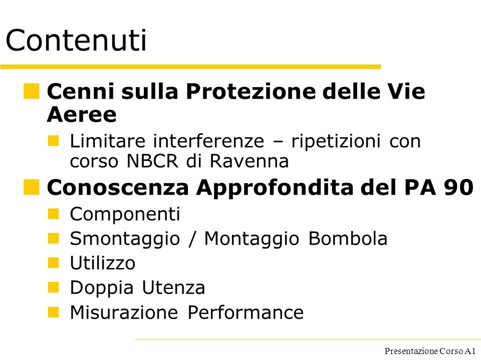 Presentazione Corso A1 Contenuti Cenni sulla Protezione delle Vie Aeree Limitare interferenze – ripetizioni con corso NBCR di Ravenna Conoscenza Appro