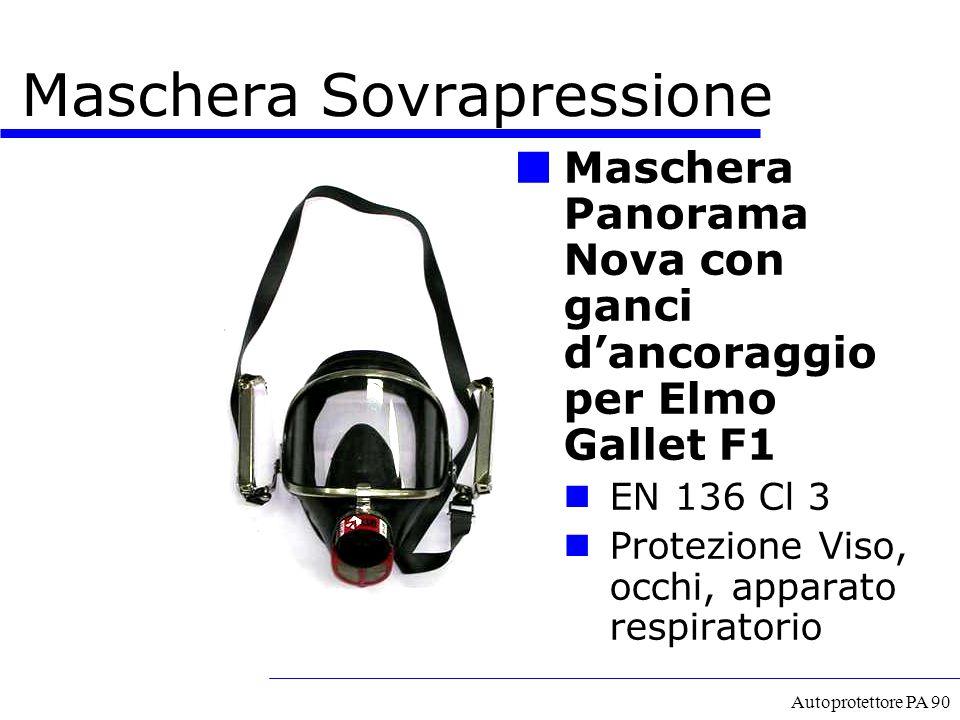 Autoprotettore PA 90 Maschera Sovrapressione Maschera Panorama Nova con ganci d'ancoraggio per Elmo Gallet F1 EN 136 Cl 3 Protezione Viso, occhi, appa