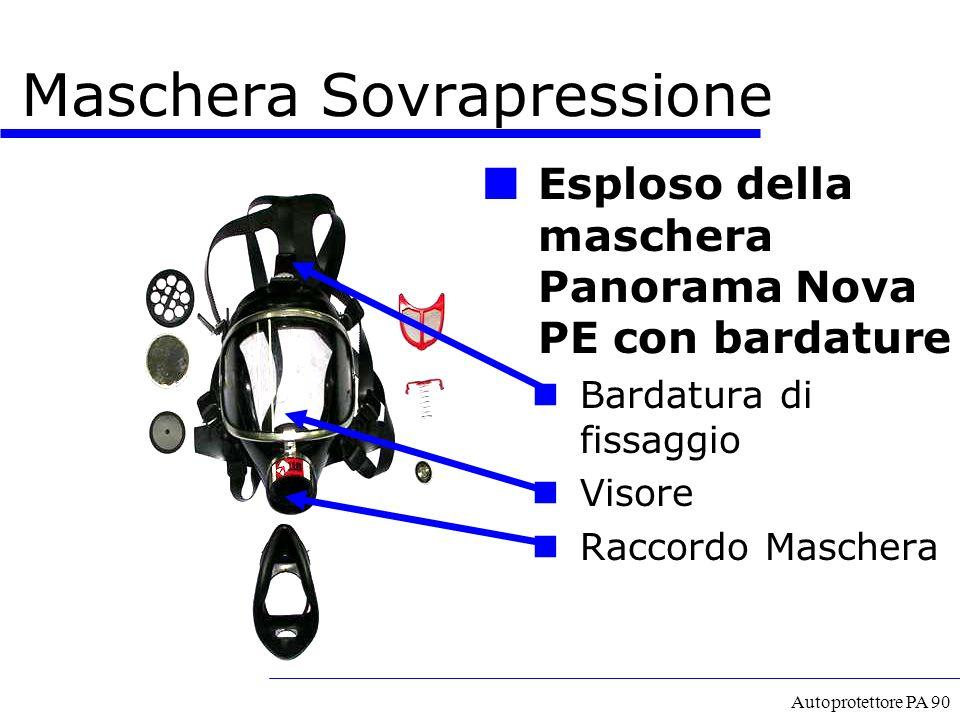 Autoprotettore PA 90 Esploso della maschera Panorama Nova PE con bardature Bardatura di fissaggio Visore Raccordo Maschera Maschera Sovrapressione