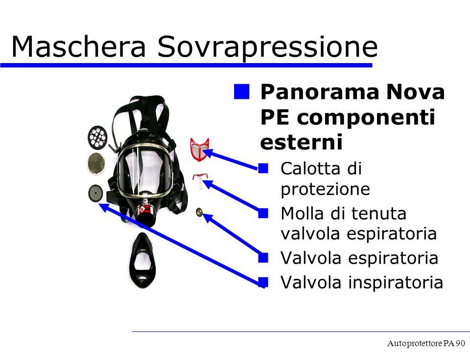 Autoprotettore PA 90 Panorama Nova PE componenti esterni Calotta di protezione Molla di tenuta valvola espiratoria Valvola espiratoria Valvola inspira