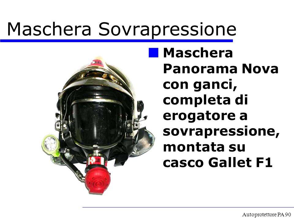 Autoprotettore PA 90 Maschera Panorama Nova con ganci, completa di erogatore a sovrapressione, montata su casco Gallet F1 Maschera Sovrapressione