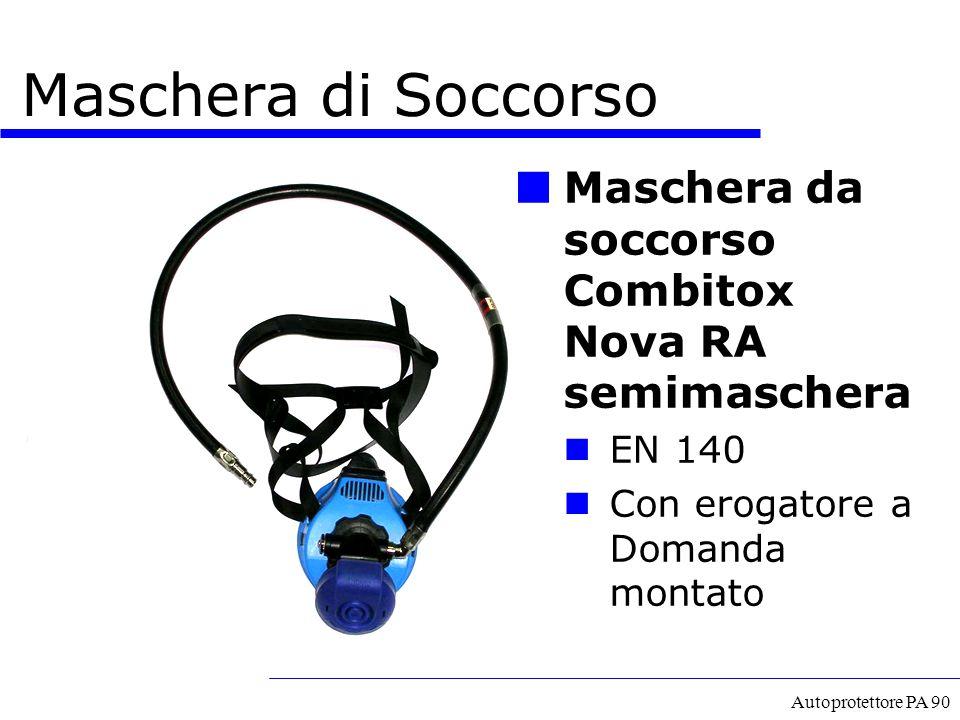 Autoprotettore PA 90 Maschera di Soccorso Maschera da soccorso Combitox Nova RA semimaschera EN 140 Con erogatore a Domanda montato